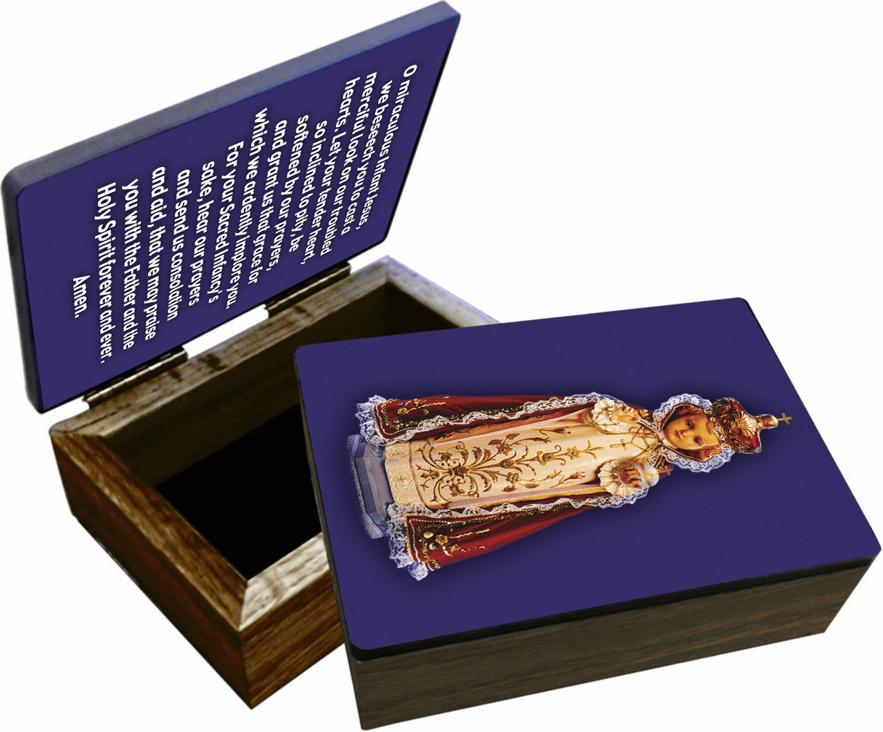 Nelson's Infant of Prague Wooden Rosary and Keepsake Box