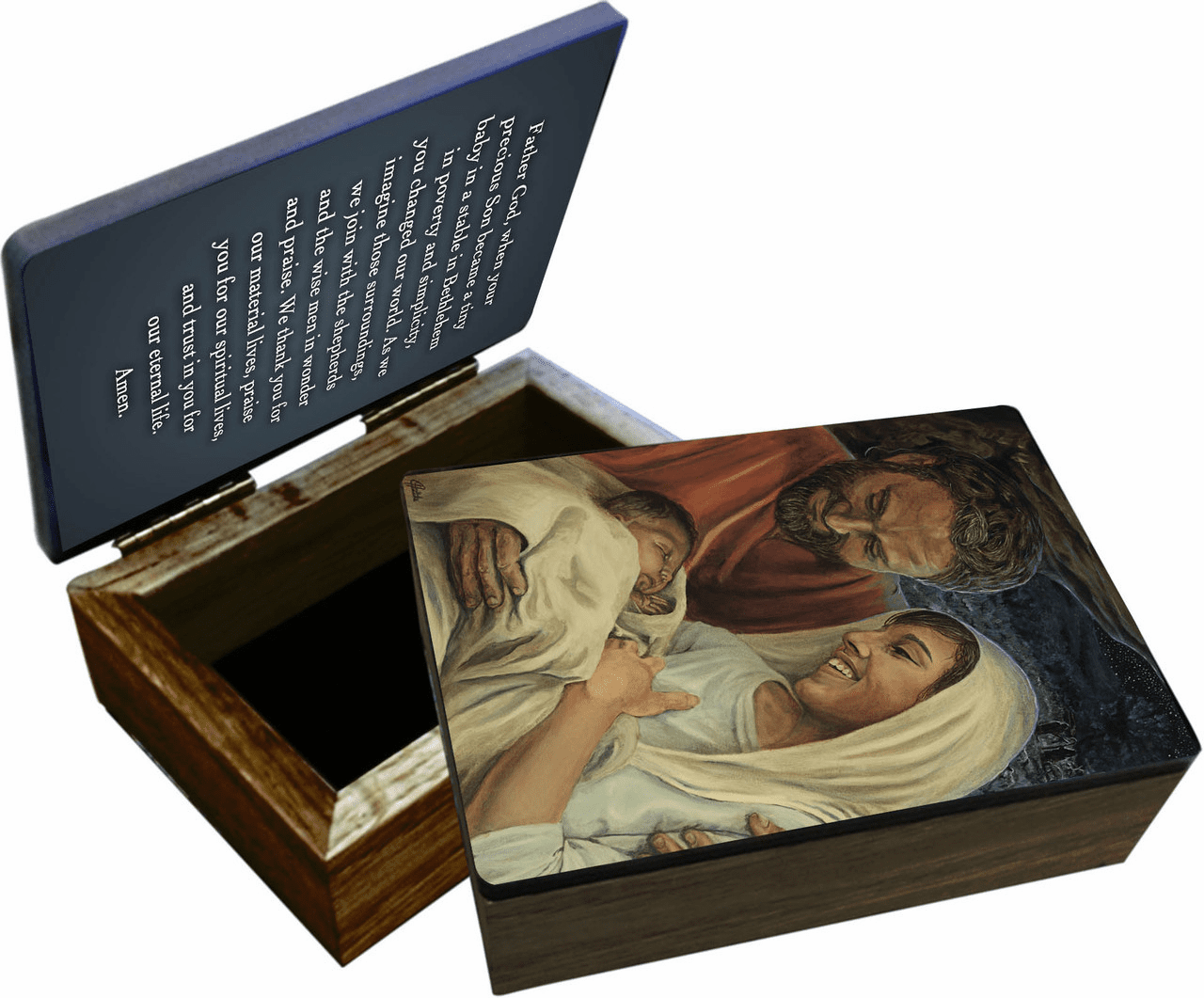 Nelson's Jenicke Nativity Wooden Rosary and Keepsake Box
