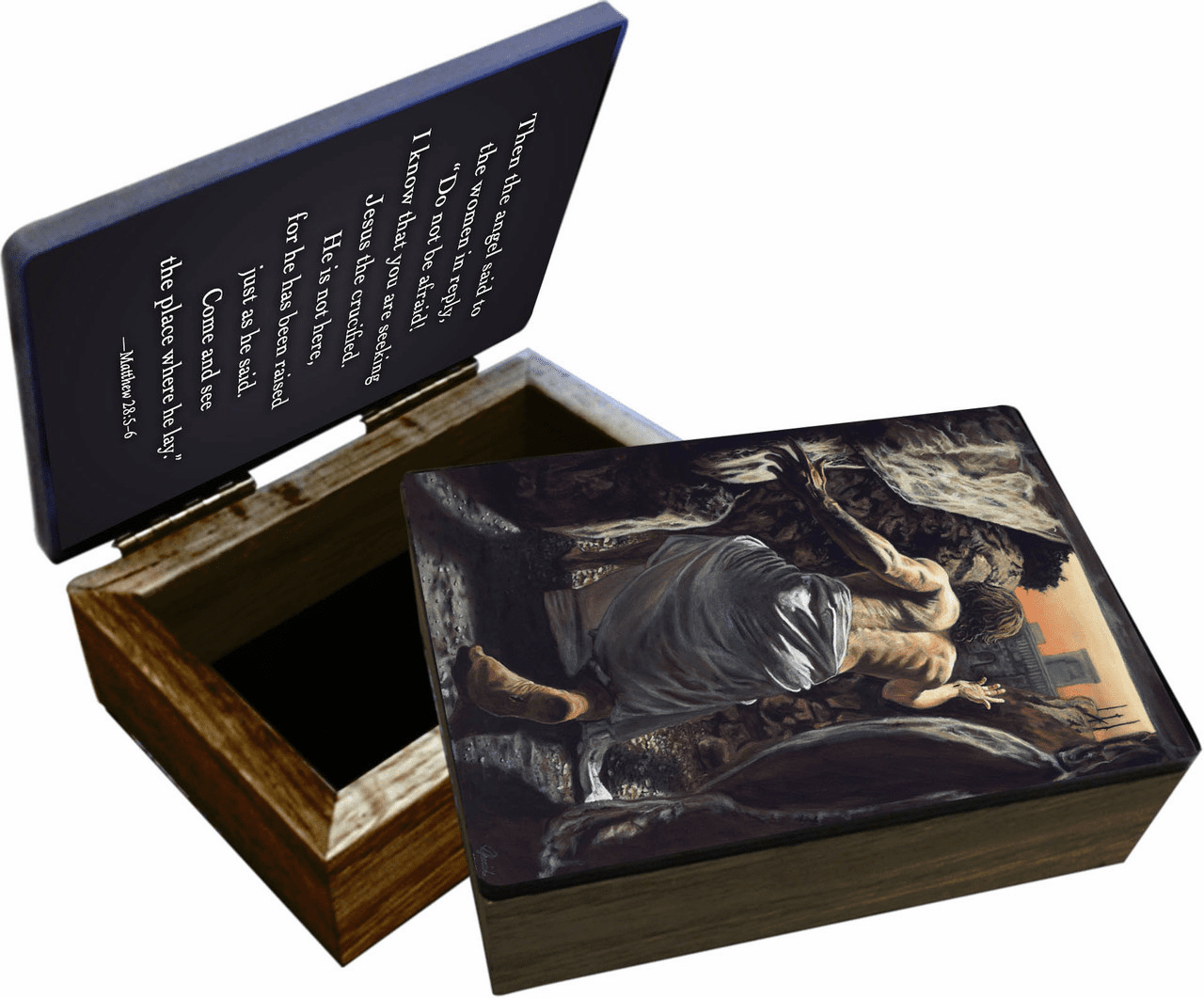 Nelson's Jenicke Resurrection Wooden Rosary and Keepsake Box