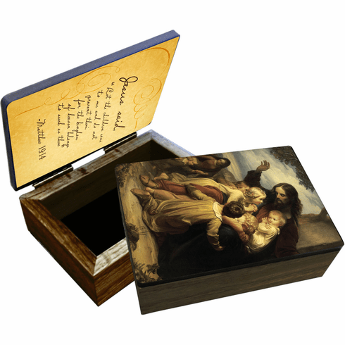 """Nelson's Jesus """"Let the Children Come to Me"""" Wooden Rosary and Keepsake Box"""