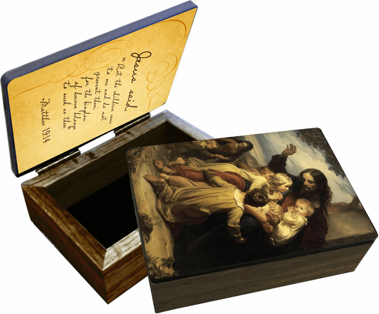 "Nelson's Jesus ""Let the Children Come to Me"" Wooden Rosary and Keepsake Box"