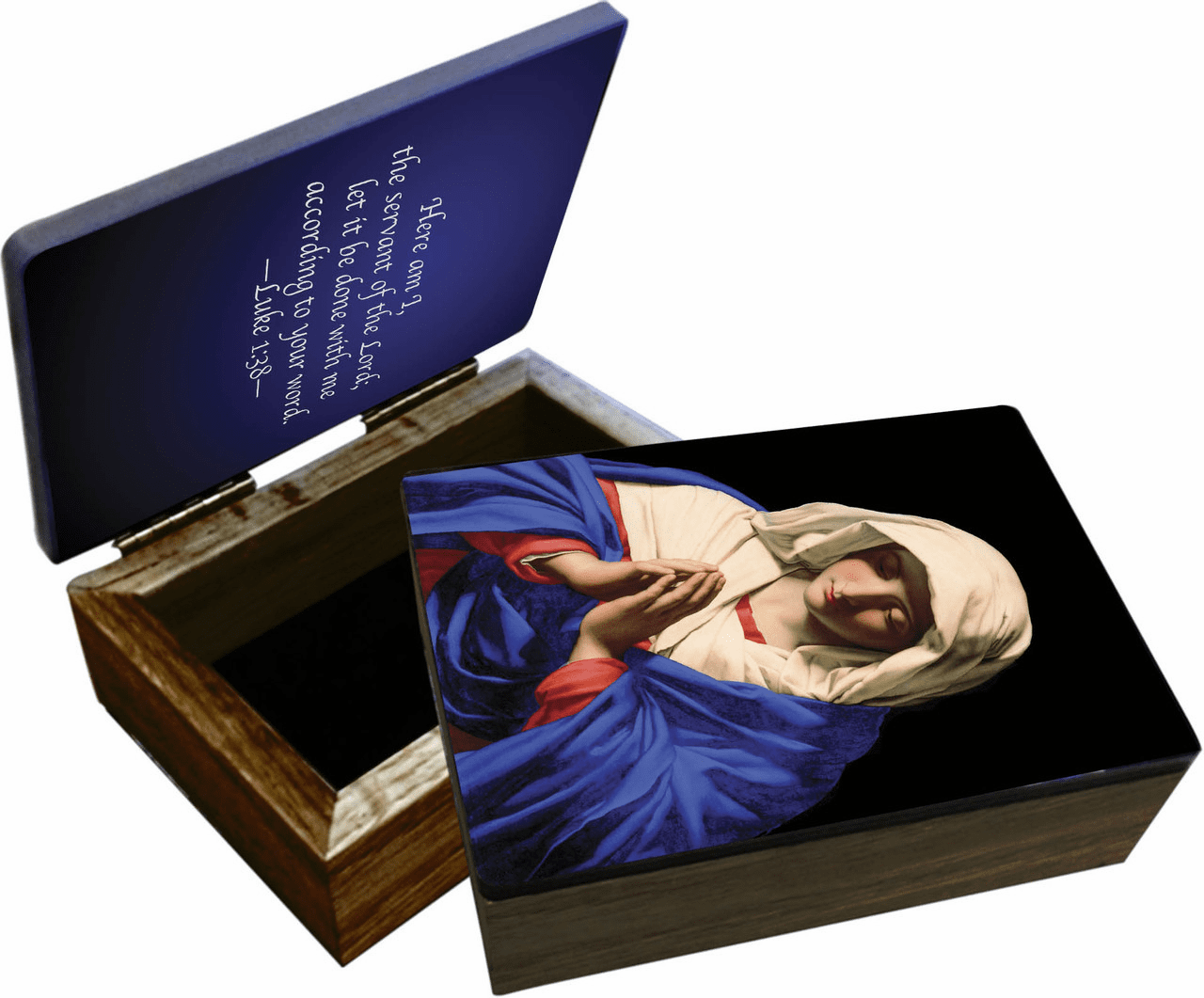 Nelson's Madonna in Prayer Wooden Rosary and Keepsake Box