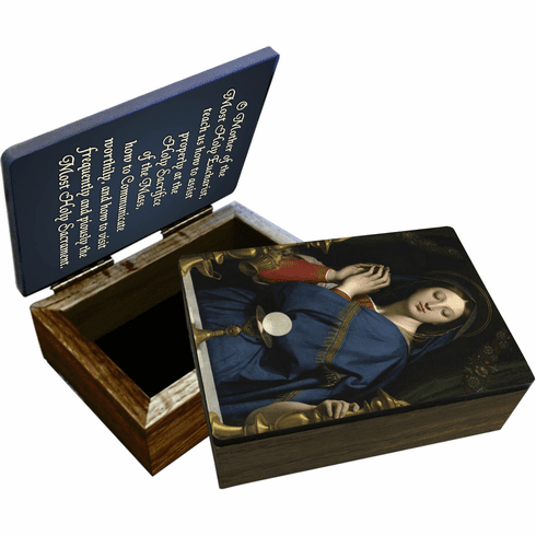 Nelson's Madonna of the Host Wooden Rosary and Keepsake Box