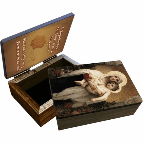 Nelson's Madonna of the Roses Wooden Rosary and Keepsake Box