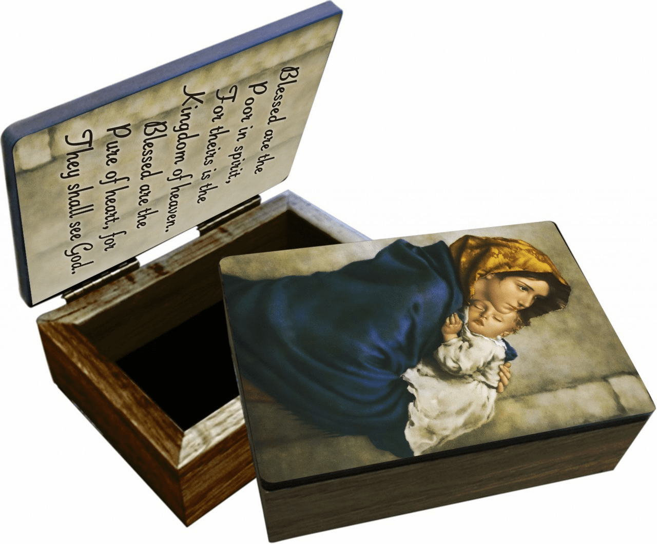 Nelson's Madonna of the Streets Wooden Rosary and Keepsake Box