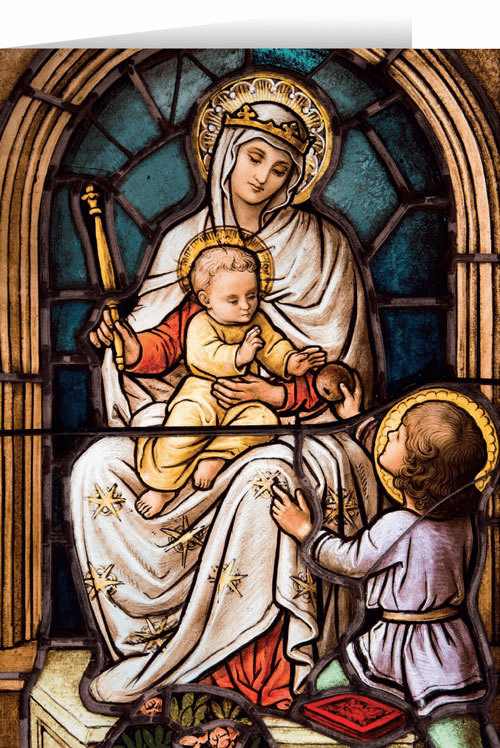 Nelson's Madonna with Child Stained Glass Christmas Cards