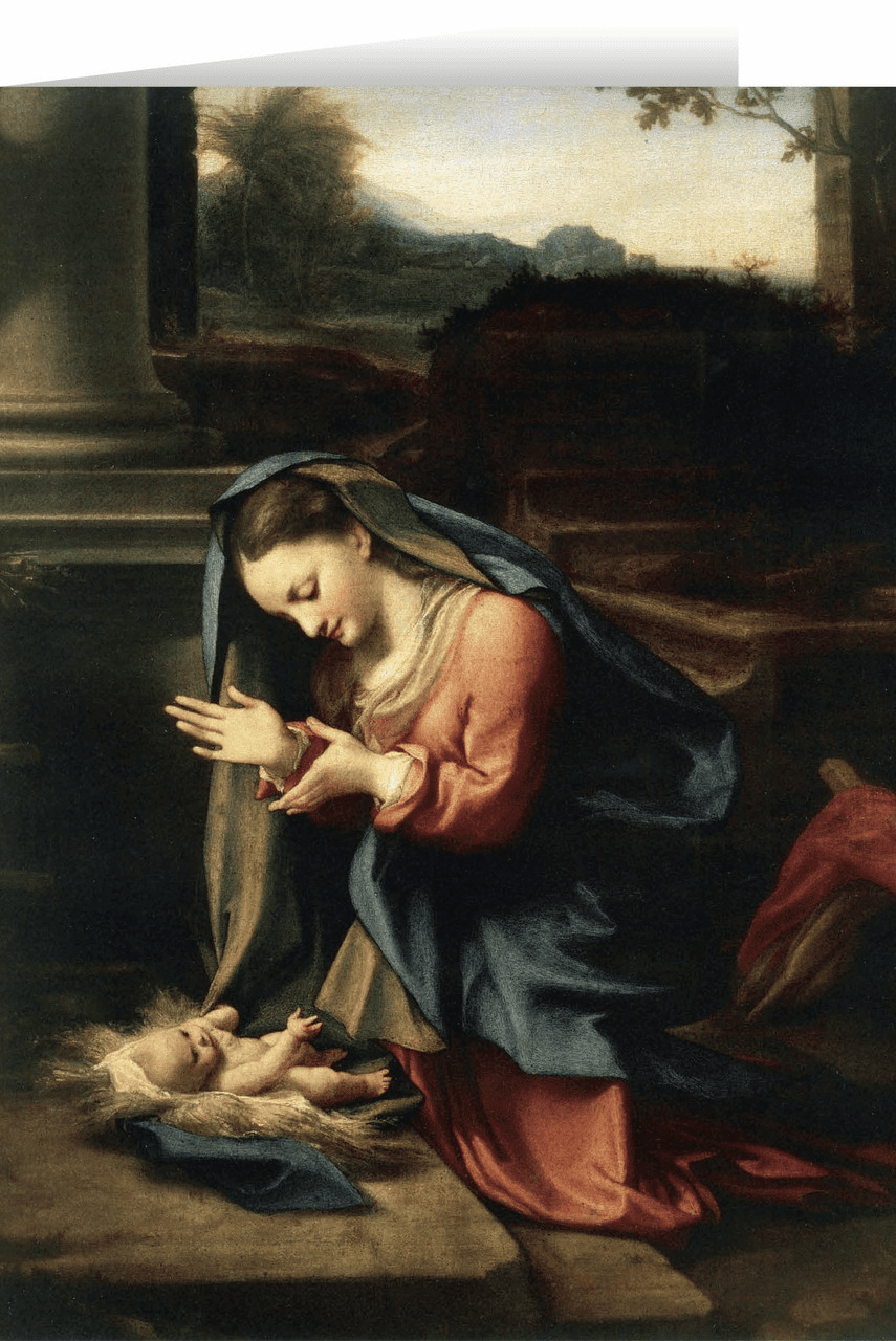 Nelson's Madonna Worshiping the Child by Correggio Christmas Cards