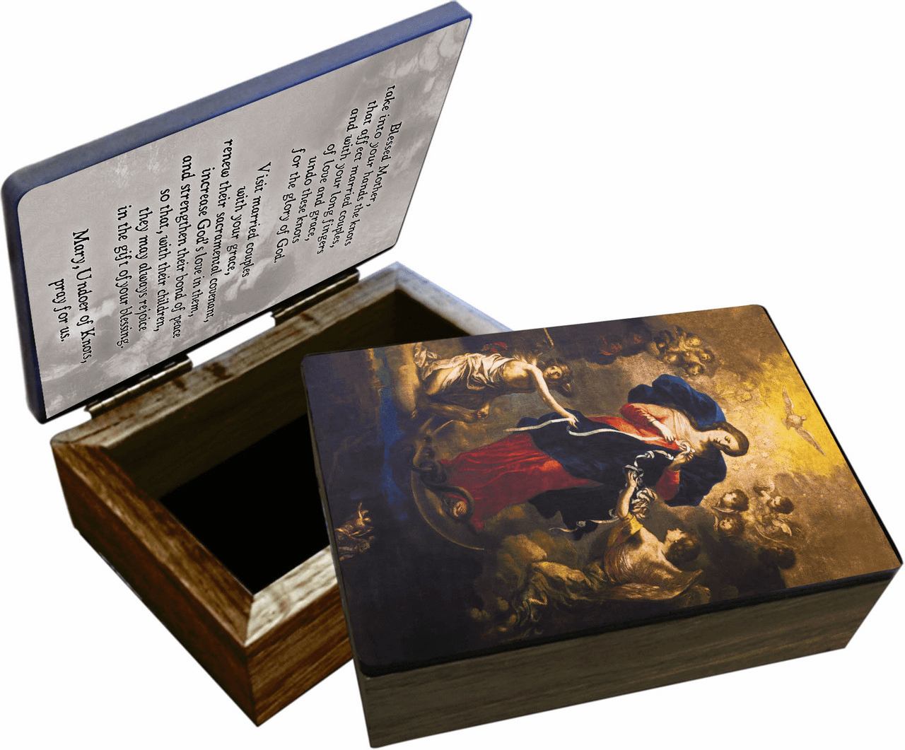 Nelson's Mary Undoer of Knots Marriage Prayer Wooden Rosary and Keepsake Box