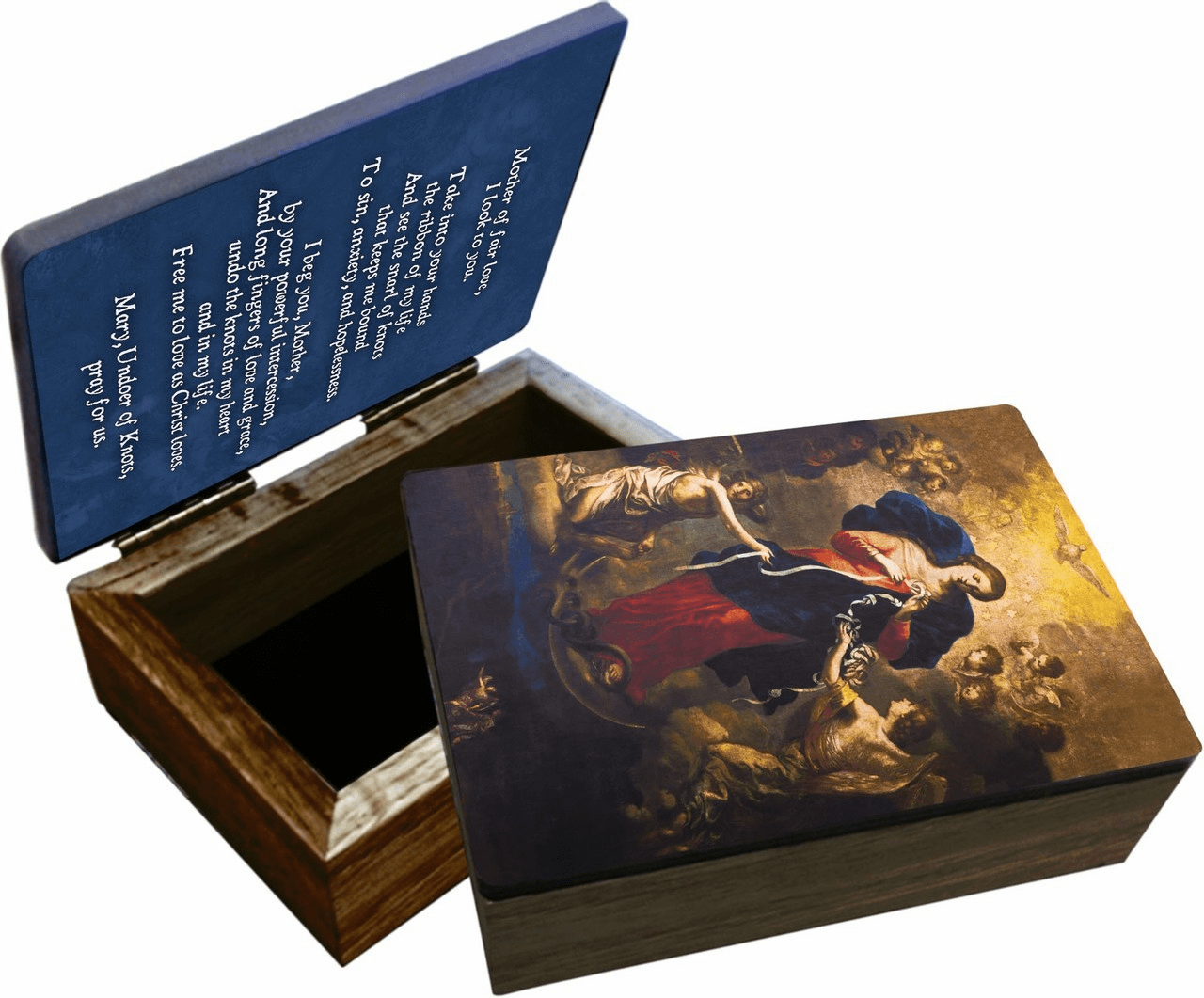 Nelson's Mary Undoer of Knots Wooden Rosary and Keepsake Box