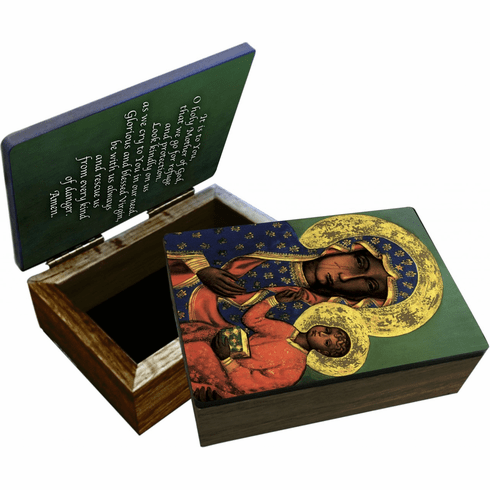 Nelson's Our Lady of Czestochowa Wooden Rosary and Keepsake Box