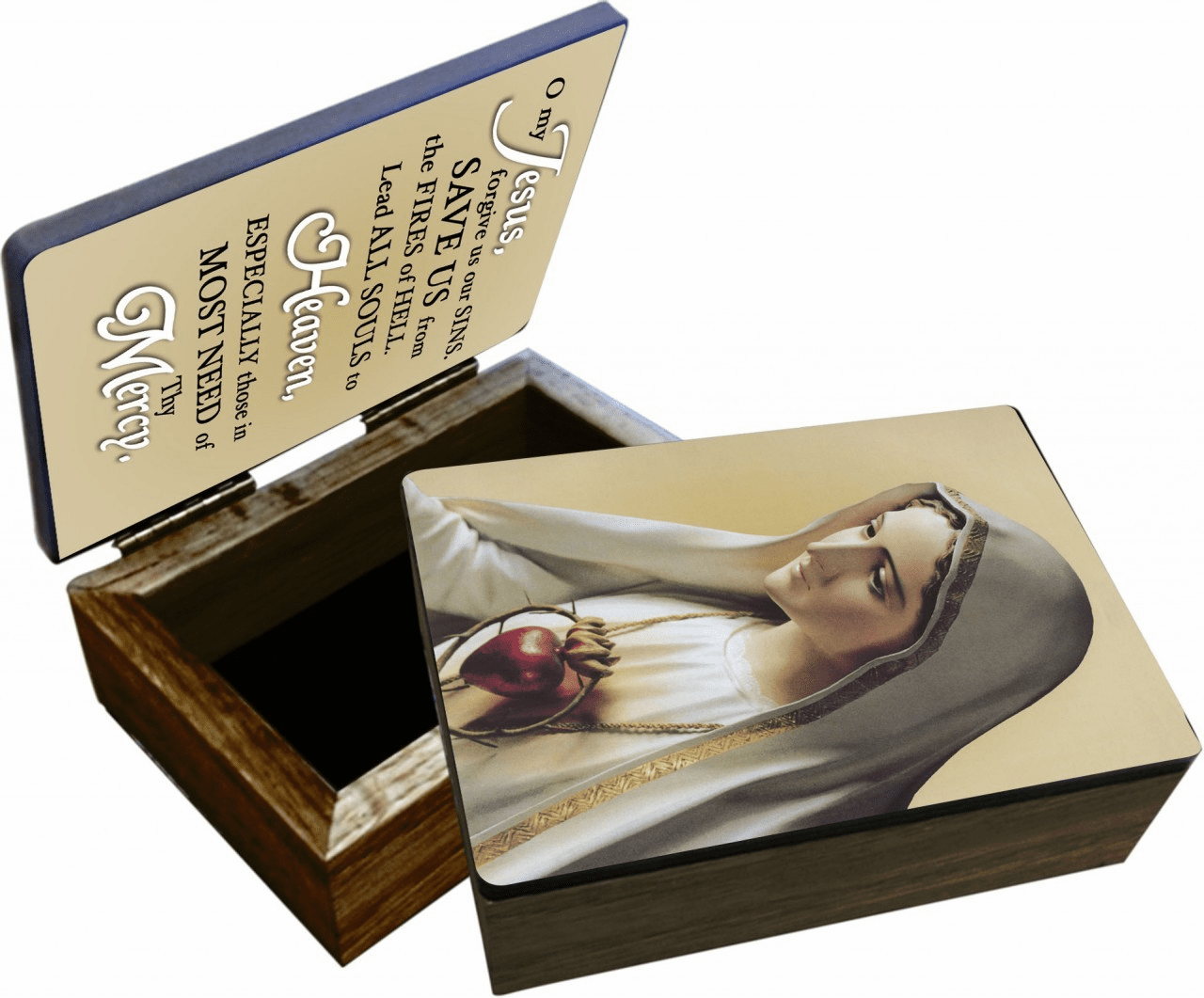 Nelson's Our Lady of Fatima Wooden Rosary and Keepsake Box