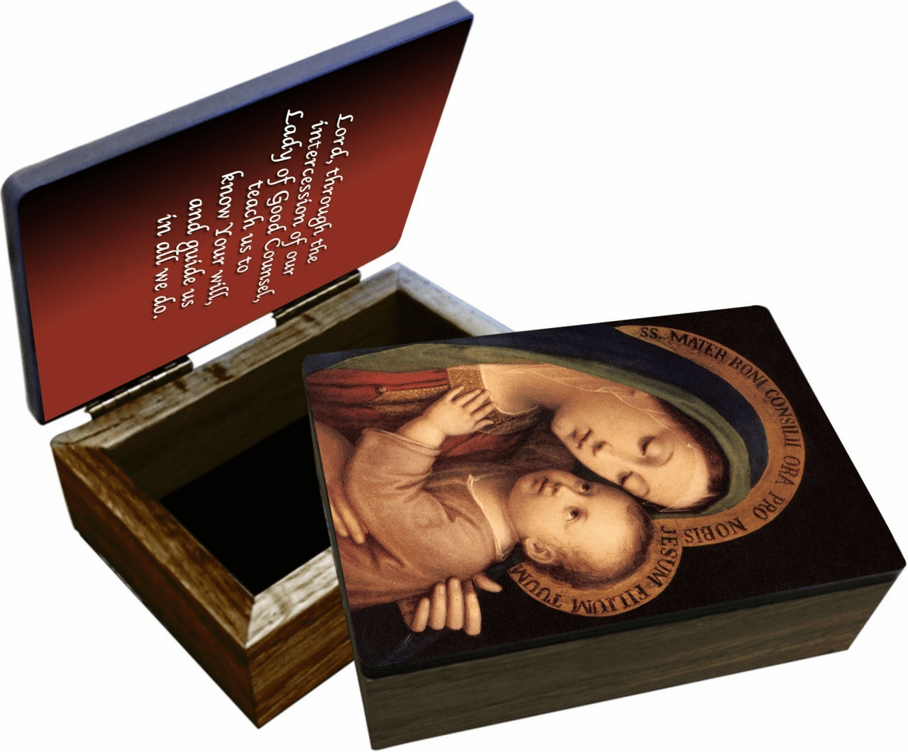 Nelson's Our Lady of Good Counsel Wooden Rosary and Keepsake Box