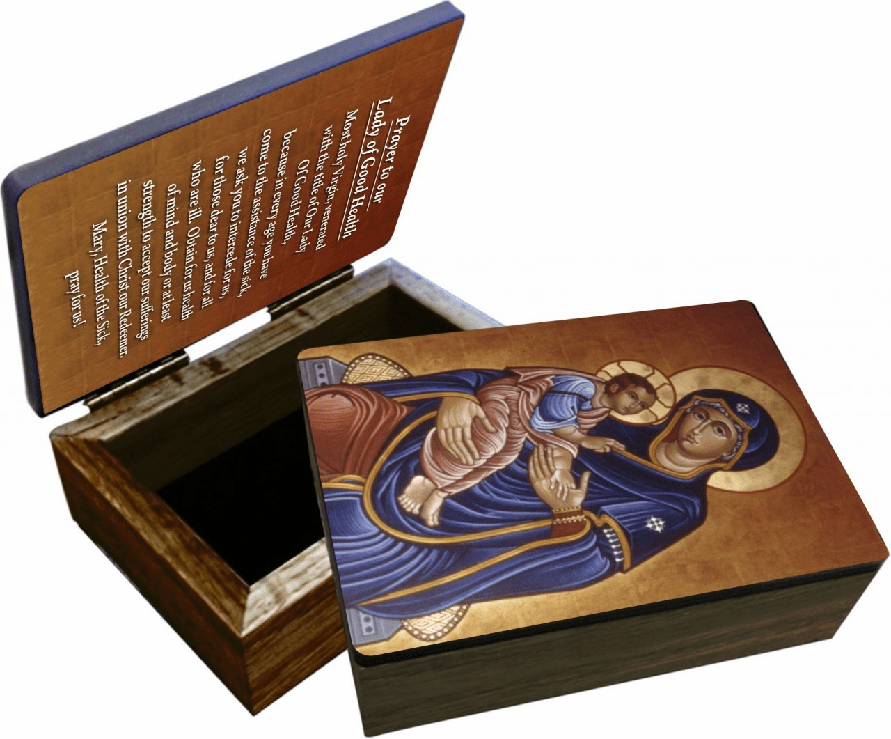 Nelson's Our Lady of Good Health Wooden Rosary and Keepsake Box