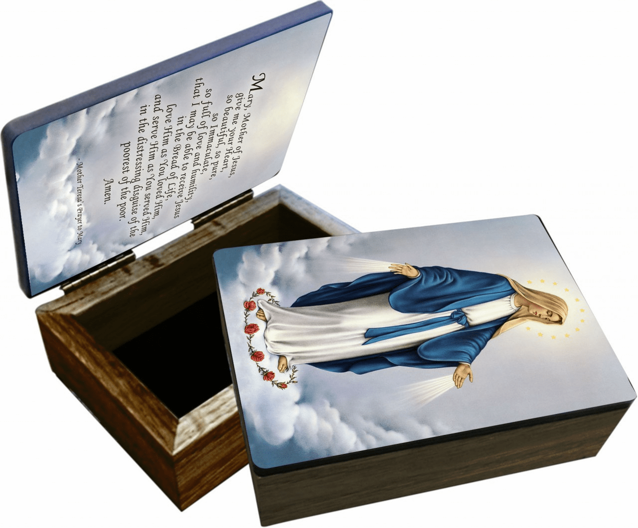 Nelson's Our Lady of Grace Wooden Rosary and Keepsake Box