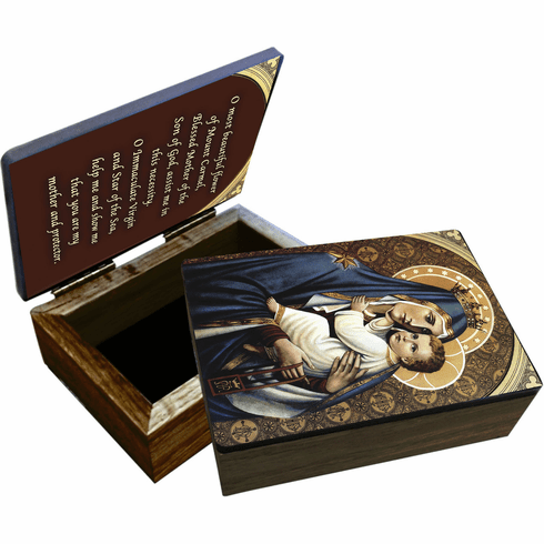 Nelson's Our Lady of Mount Carmel Wooden Rosary and Keepsake Box