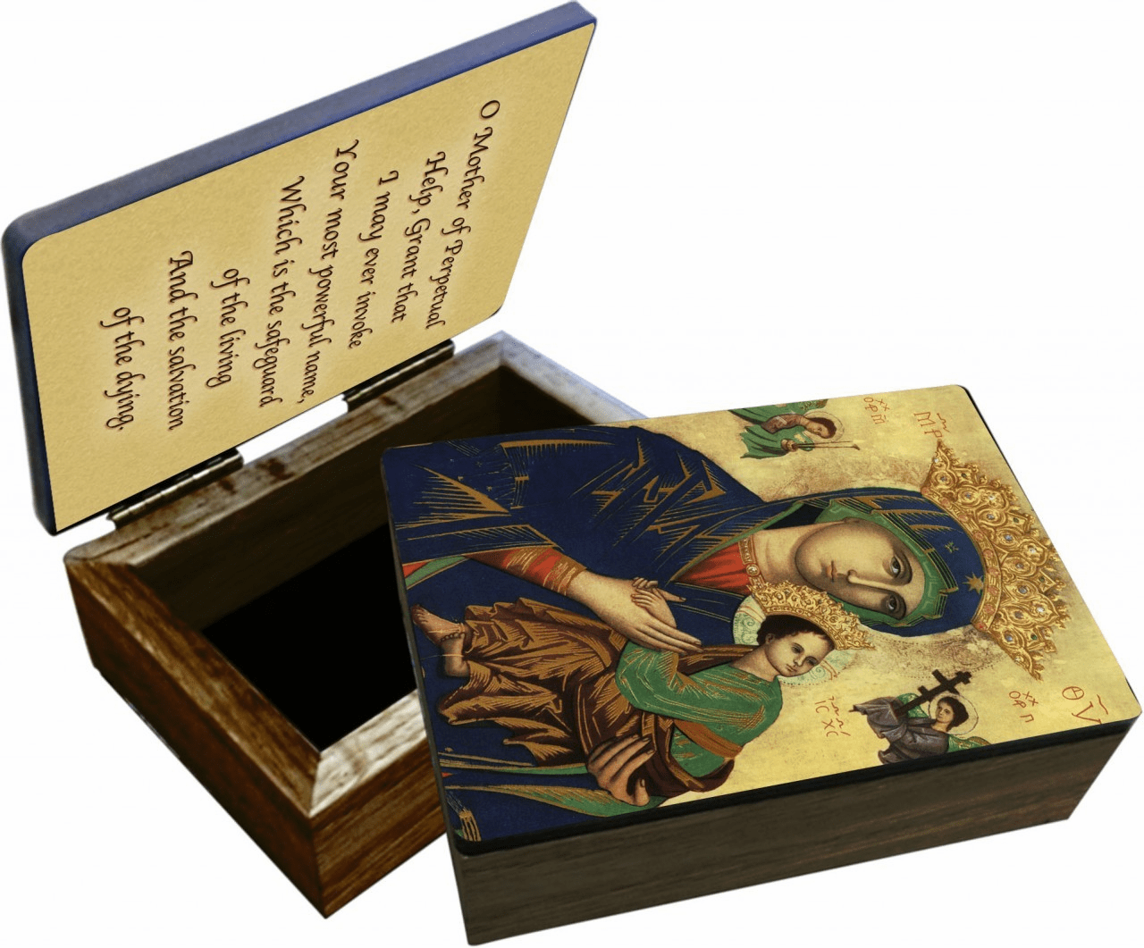Nelson's Our Lady of Perpetual Help Wooden Rosary and Keepsake Box