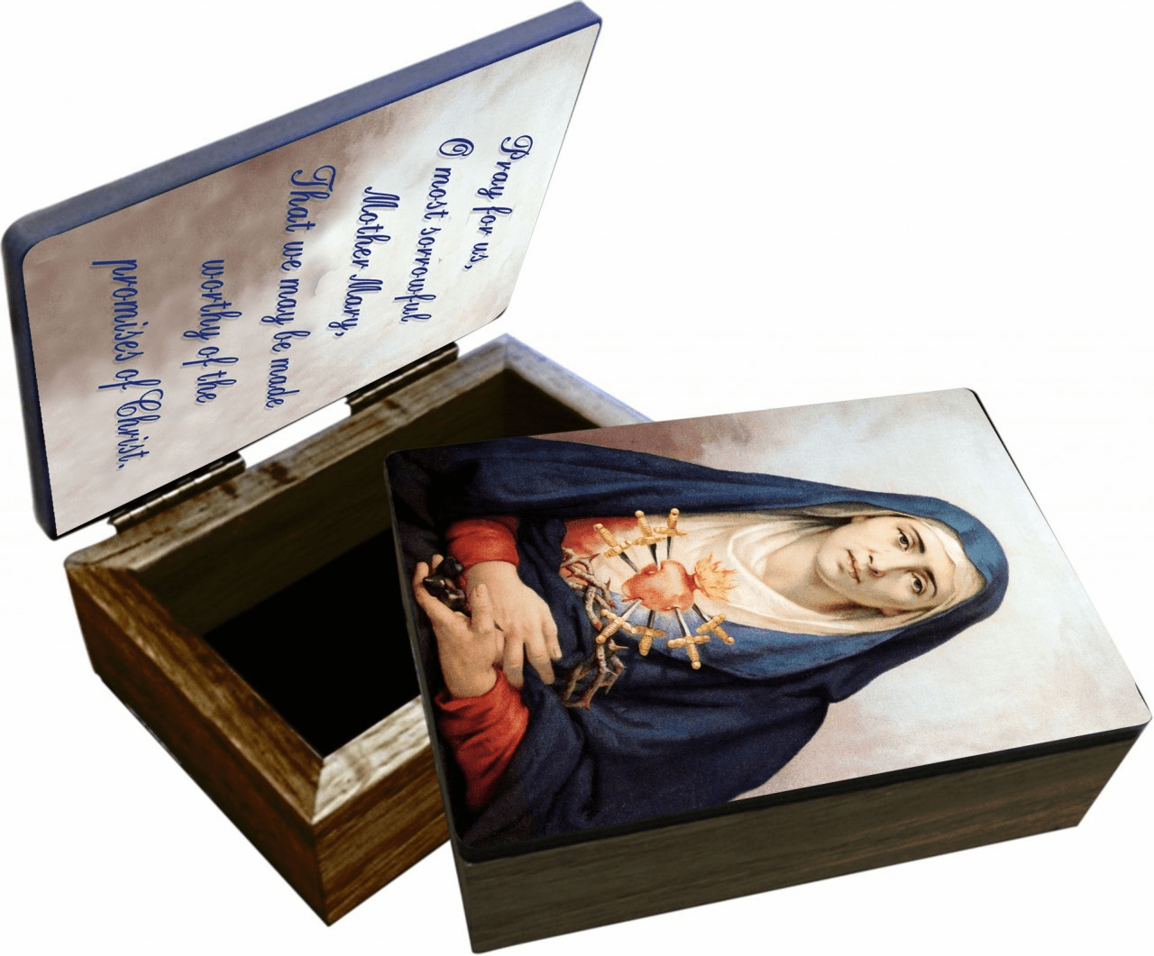 Nelson's Our Lady of Sorrows Wooden Rosary and Keepsake Box