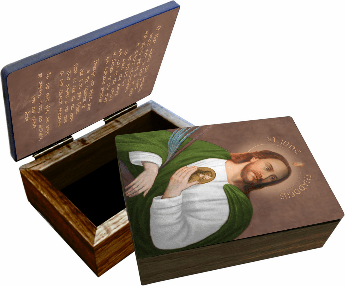 Nelson's Patron Saint Jude Wooden Rosary and Keepsake Box