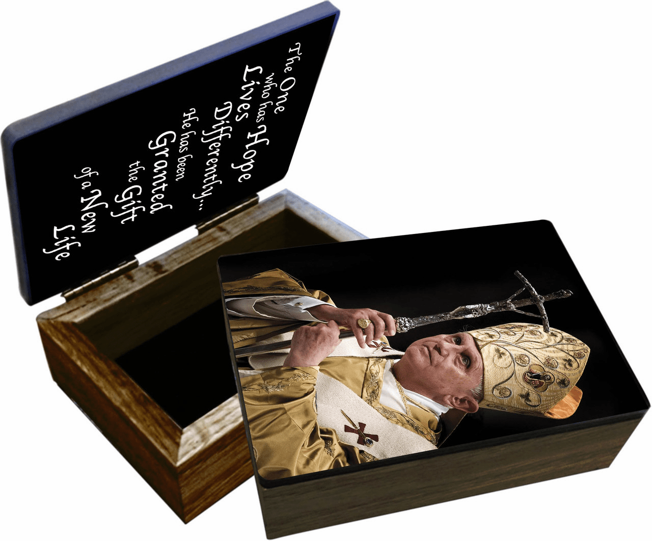 Nelson's Pope Benedict XVI Wooden Rosary and Keepsake Box
