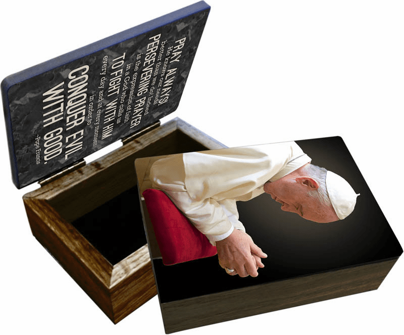 Nelson's Pope Francis Commemorative Apostolic Journey Wooden Rosary and Keepsake Box