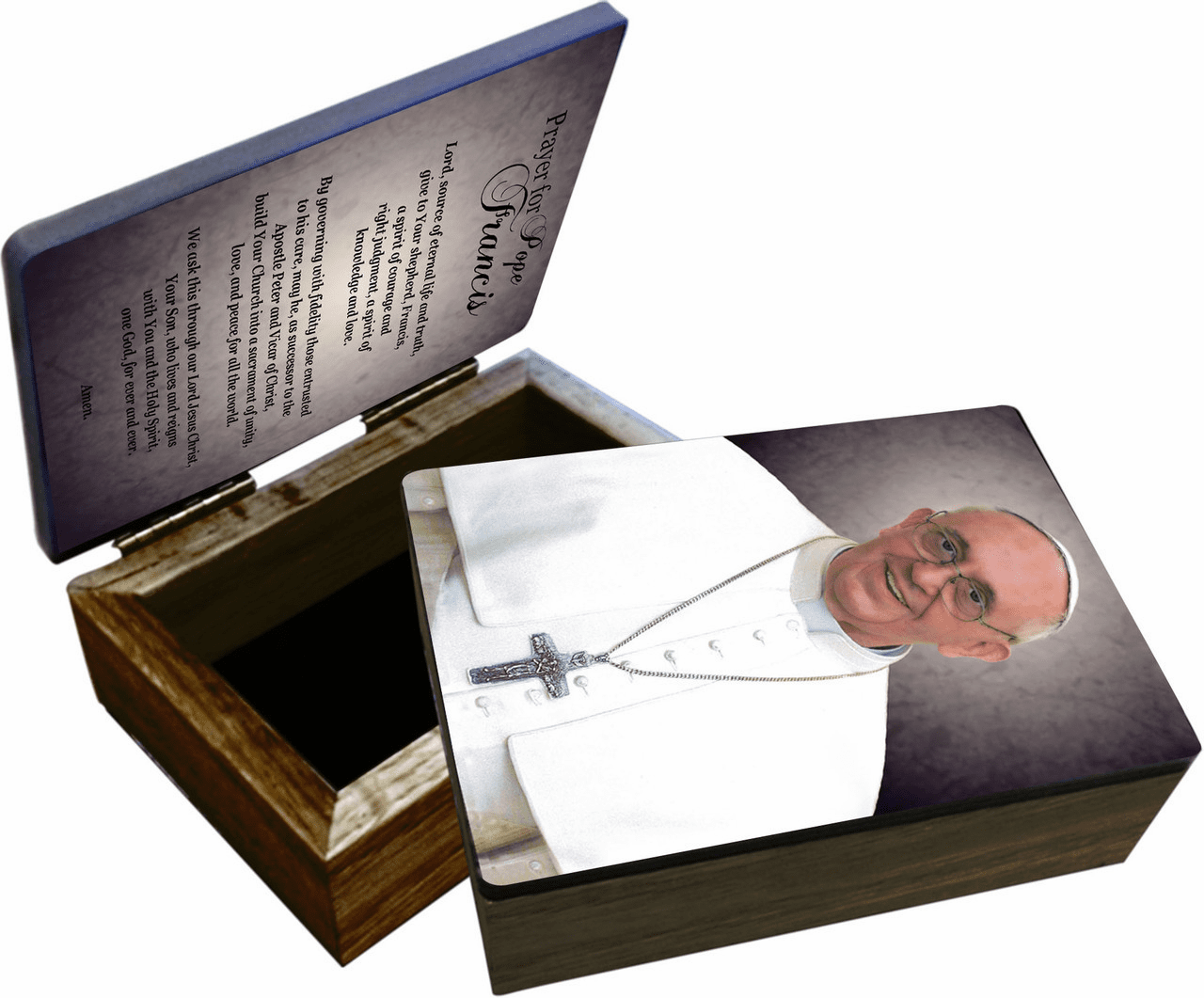Nelson's Pope Francis Formal Wooden Rosary and Keepsake Box