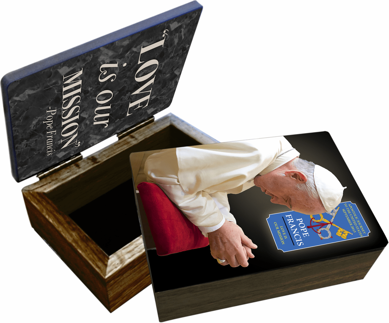 Nelson's Pope Francis in Prayer Commemorative Apostolic Journey Wooden Rosary and Keepsake Box