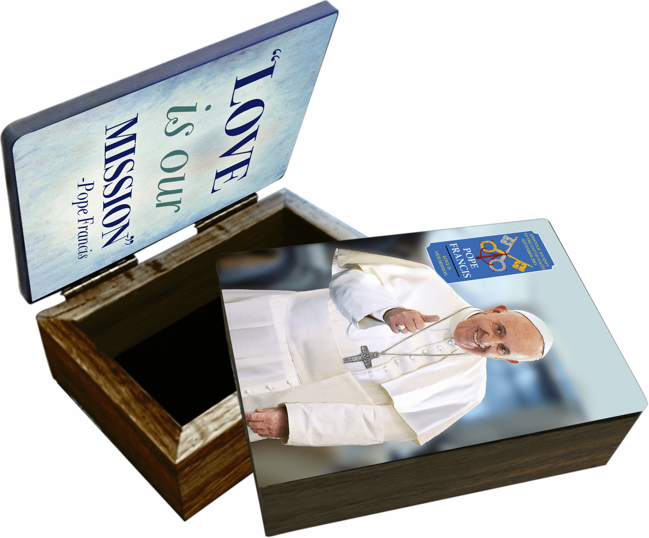 Nelson's Pope Francis Thumbs Commemorative Apostolic Journey Wooden Rosary and Keepsake Box