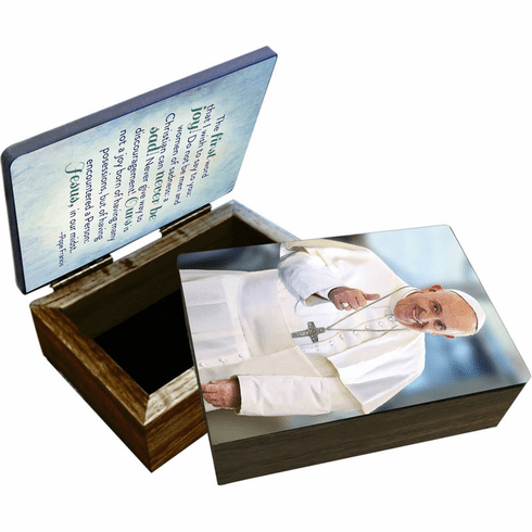 Nelson's Pope Francis Thumbs Up Wooden Rosary and Keepsake Box