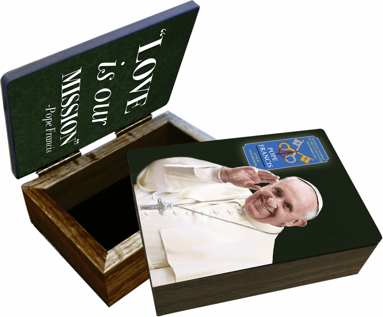 Nelson's Pope Francis Waving Commemorative Apostolic Journey Wooden Rosary and Keepsake Box