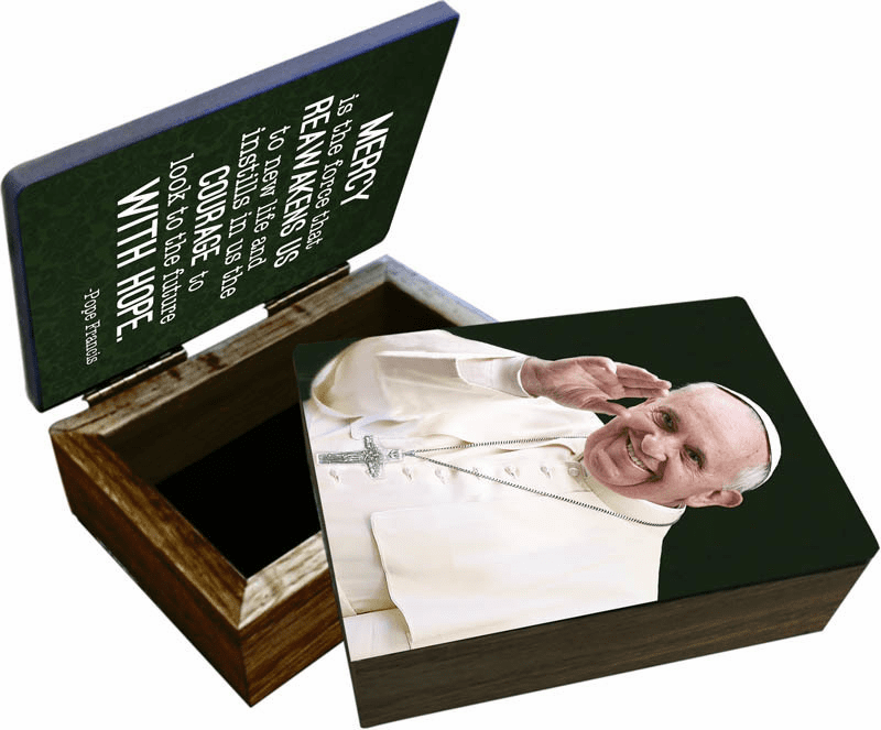 Nelson's Pope Francis Waving Wooden Rosary and Keepsake Box