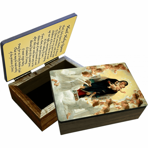 Nelson's Queen of the Angels Wooden Rosary and Keepsake Box