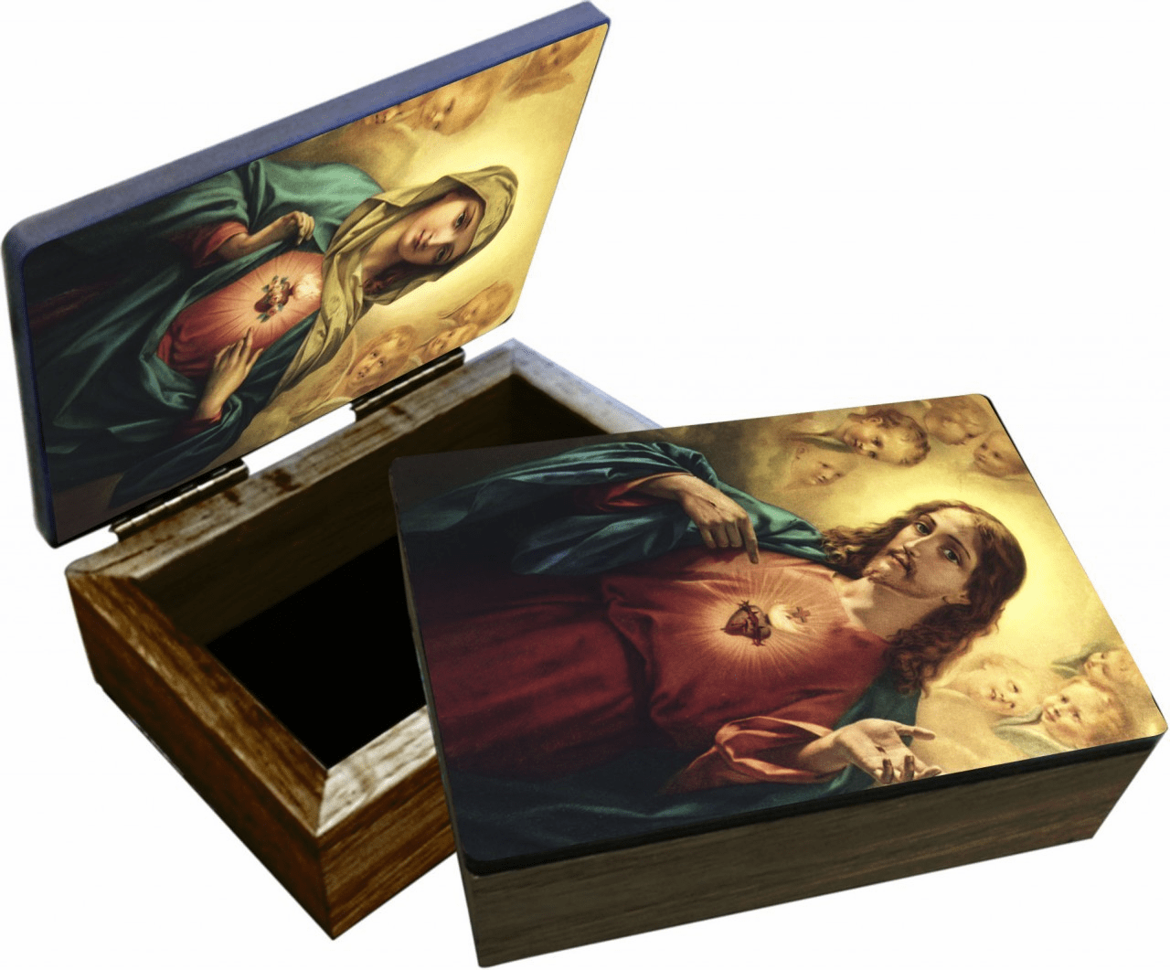 Nelson's Sacred and Immaculate Heart Wooden Rosary and Keepsake Box