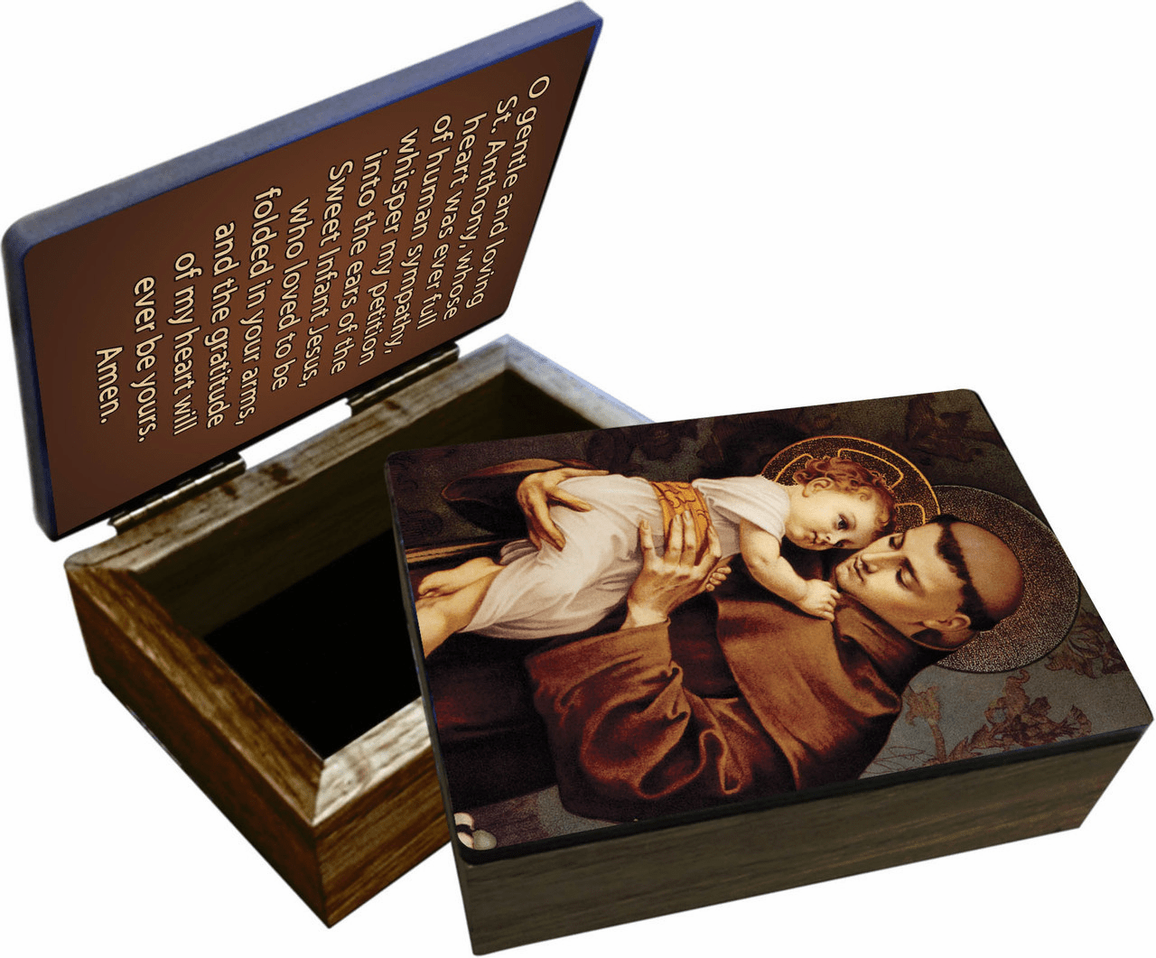 Nelson's Saint Anthony with Jesus Christ Wooden Rosary and Keepsake Box