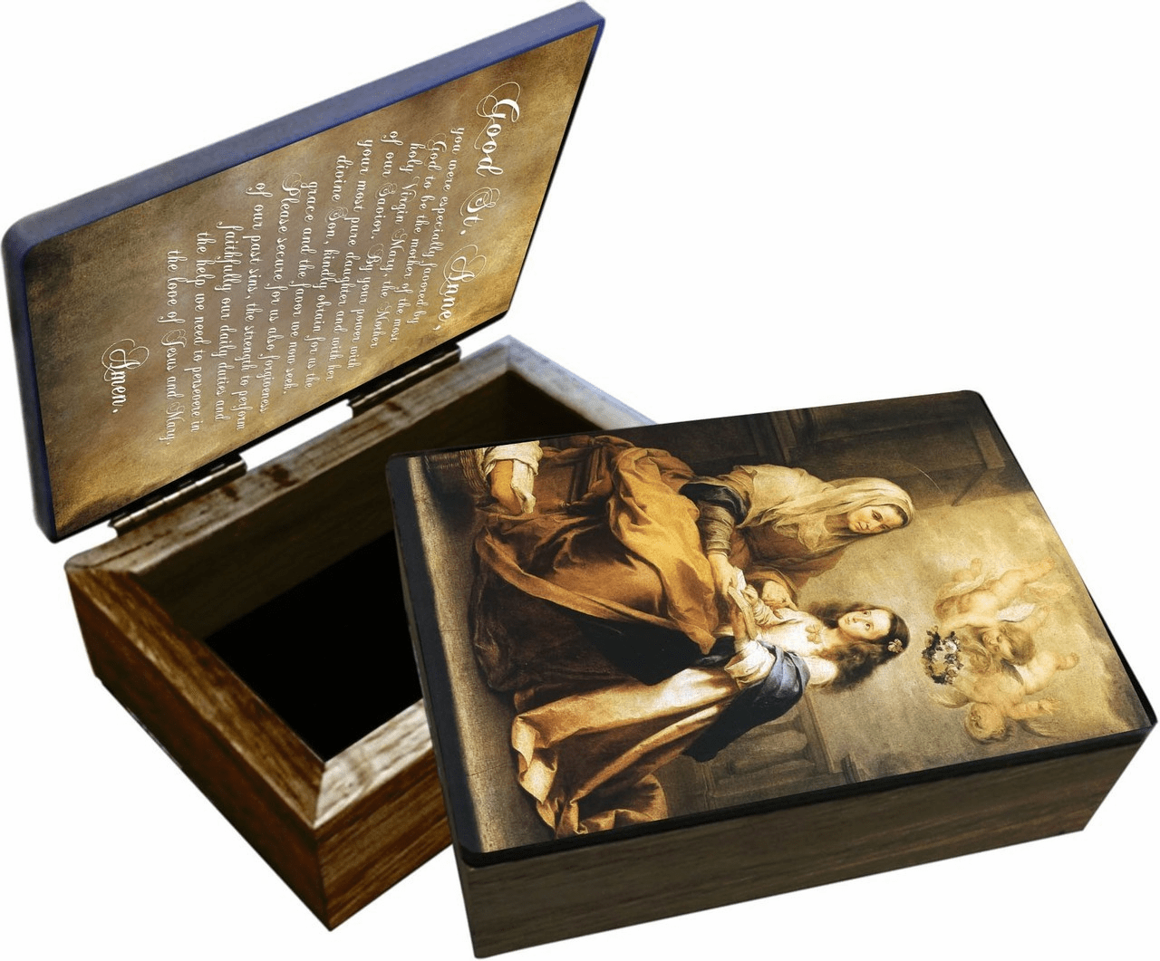 Nelson's St Anne Patron Saint Wooden Rosary and Keepsake Box