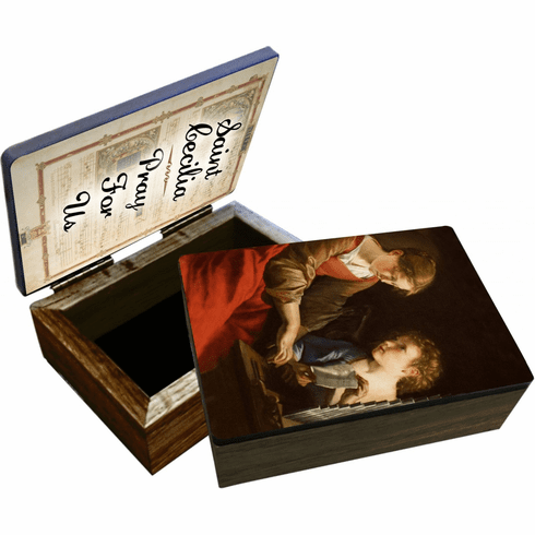 Nelson's St Cecilia Wooden Rosary and Keepsake Box