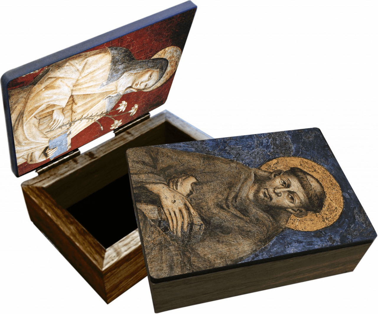 Nelson's St Francis and St Clare Wooden Rosary and Keepsake Box
