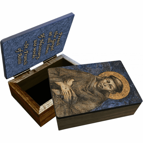 Nelson's St. Francis of Assisi Wooden Rosary and Keepsake Box