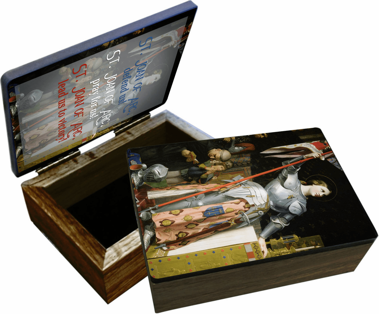 Nelson's St Joan of Arc Patron Saint Wooden Rosary and Keepsake Box