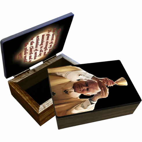 Nelson's St John Paul II Raising Chalice Wooden Rosary and Keepsake Box