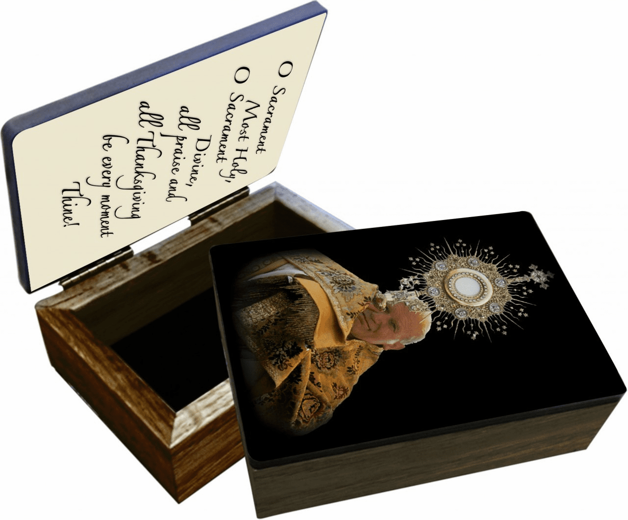 Nelson's St John Paul II with Monstrance Wooden Rosary and Keepsake Box