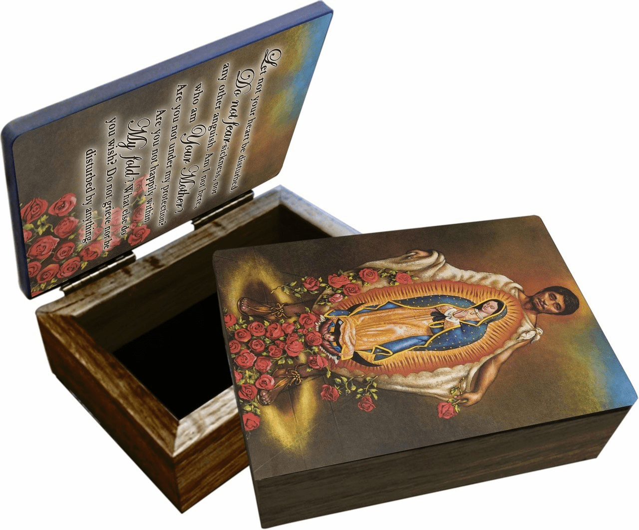 Nelson's St Juan Diego Wooden Rosary and Keepsake Box