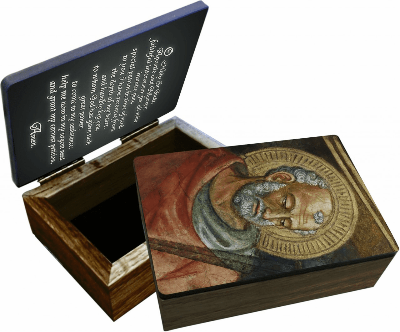 Nelson's St Jude Wooden Rosary and Keepsake Box