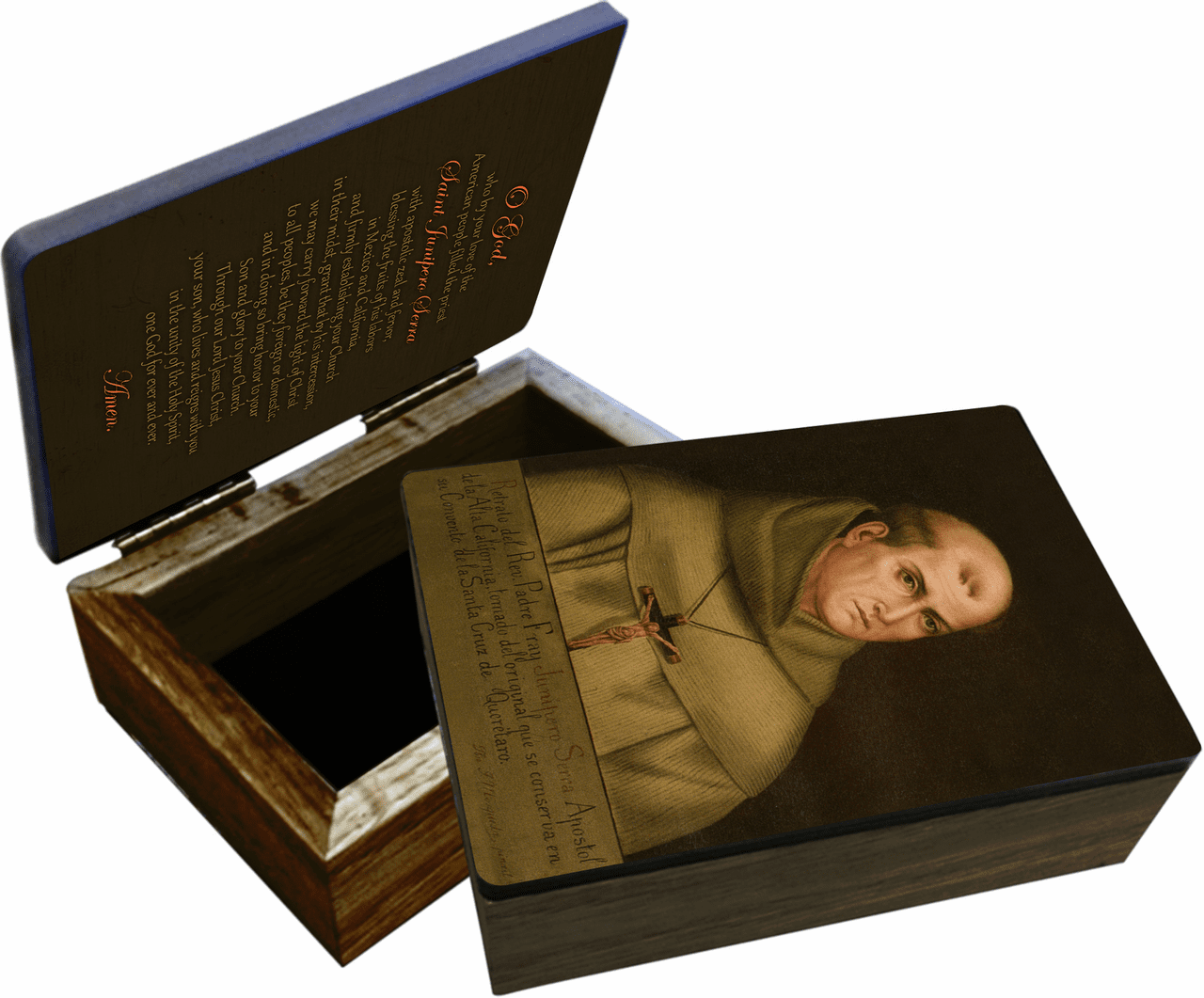 Nelson's St Junipero Serra Wooden Rosary and Keepsake Box
