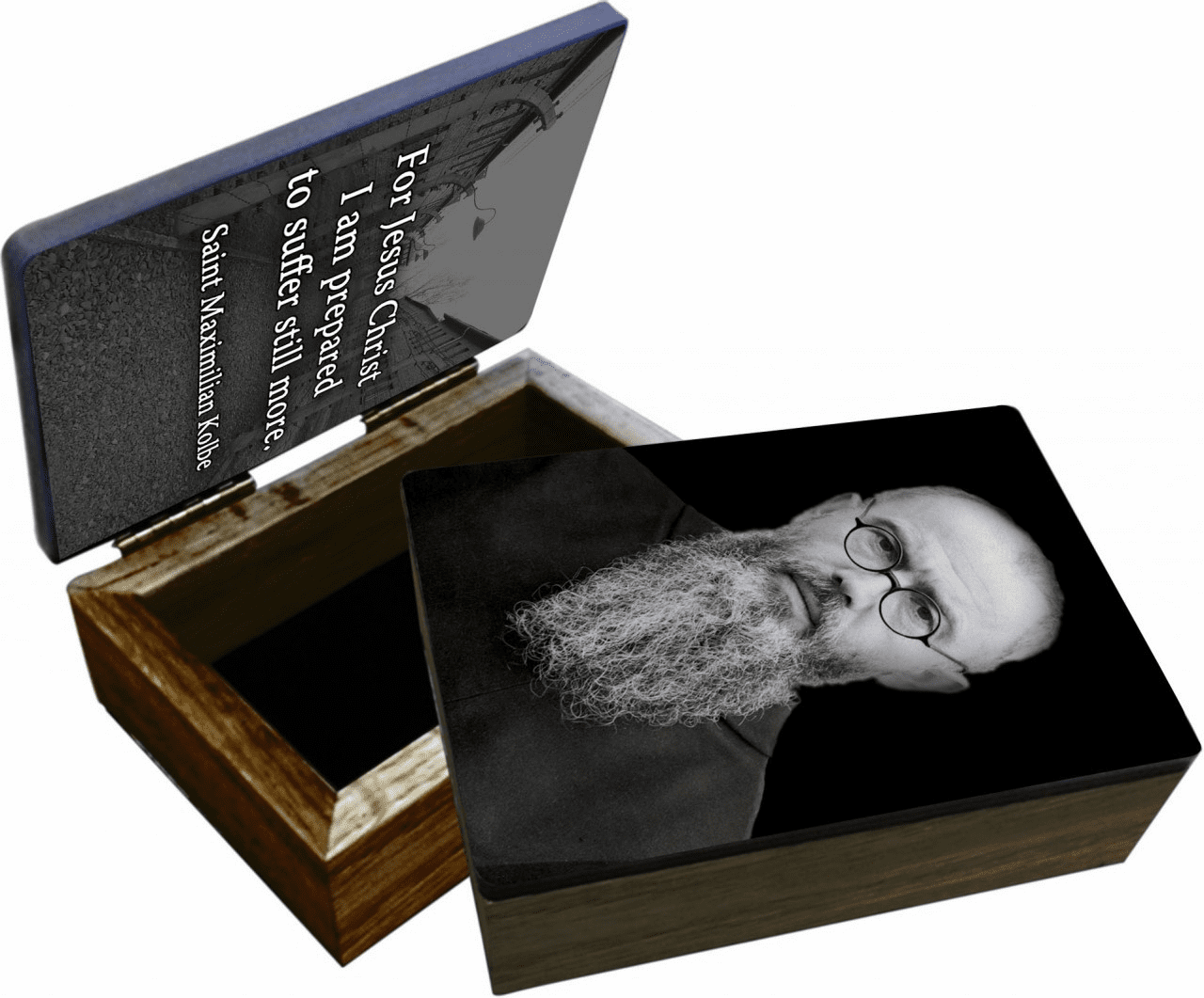 Nelson's St Maximilian Kolbe Portrait Wooden Rosary and Keepsake Box