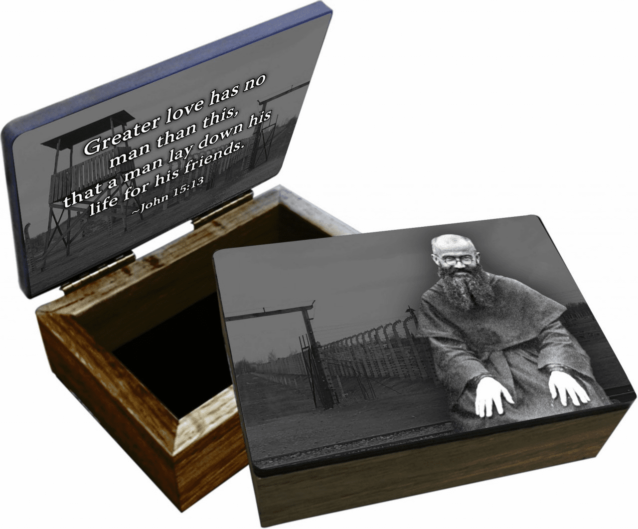 Nelson's St Maximilian Kolbe Wooden Rosary and Keepsake Box