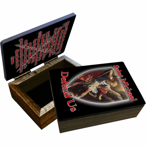 Nelson's St Michael Defend Us Wooden Rosary and Keepsake Box