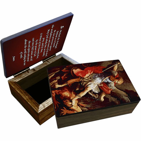 Nelson's St Michael the Archangel Wooden Rosary and Keepsake Box