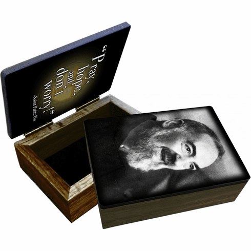 Nelson's St Padre Pio Wooden Rosary and Keepsake Box