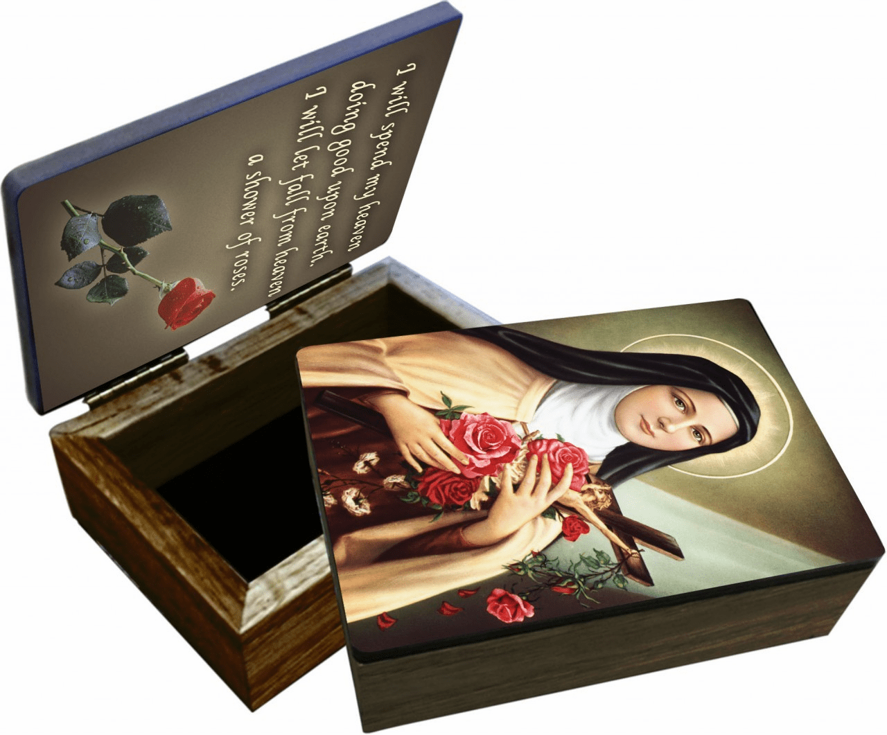 Nelson's St Therese of Lisieux Wooden Rosary and Keepsake Box