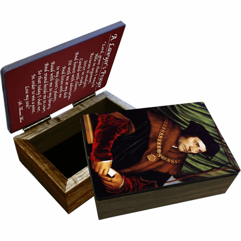 Nelson's St Thomas More Wooden Rosary and Keepsake Box